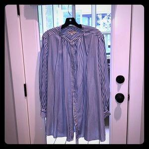 Loft XXL rayon blue stripe button up shirt blouse
